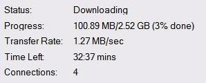 Superfast download speeds - 1.27 MB/sec
